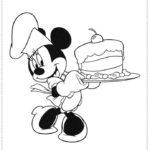 דפי צביעה מיני מאוס אופה עוגה