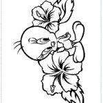 דפי צביעה טוויטי עם פרחים