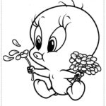 דפי צביעה טוויטי תינוק נושף על פרח